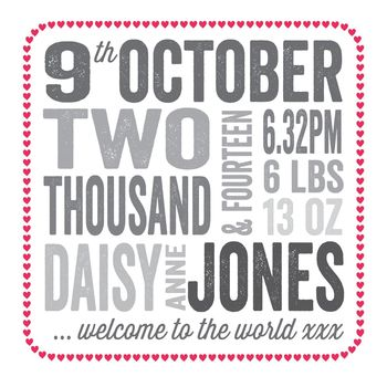 Personalised New Baby Date Card