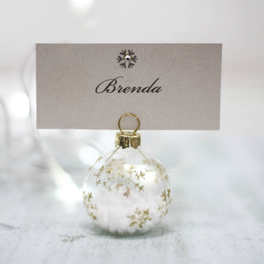 Christmas place cards and place card holders notonthehighstreet snowflake bauble place setting reviewsmspy