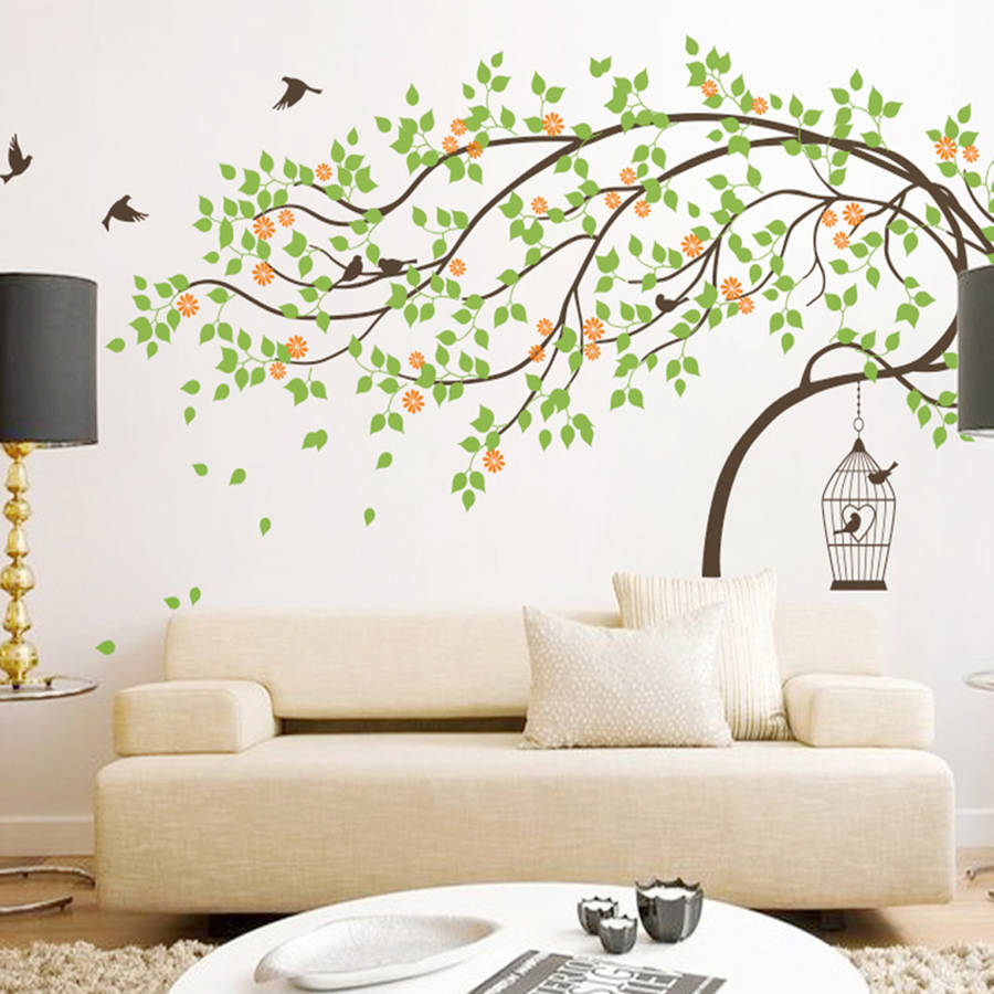 Leaning Tree With Birds And Birdcage Wall Sticker By Wall