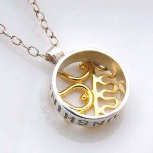 Personalised Silver And Gold Pendant