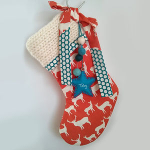 Personalised Deer Print Christmas Stocking - stockings & sacks