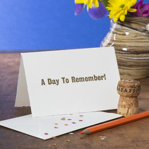 'A Day To Remember!' Congratulations Card - congratulations cards