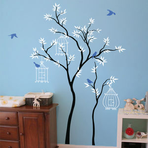 Thin Trees With Birdcages Wall Sticker - decorative accessories