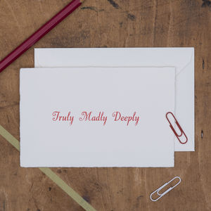 'Truly, Madly, Deeply' Letterpress Card
