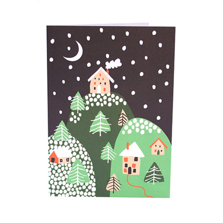 Mountain Christmas Cards.Mountain Scene Christmas Cards Pack Of Five