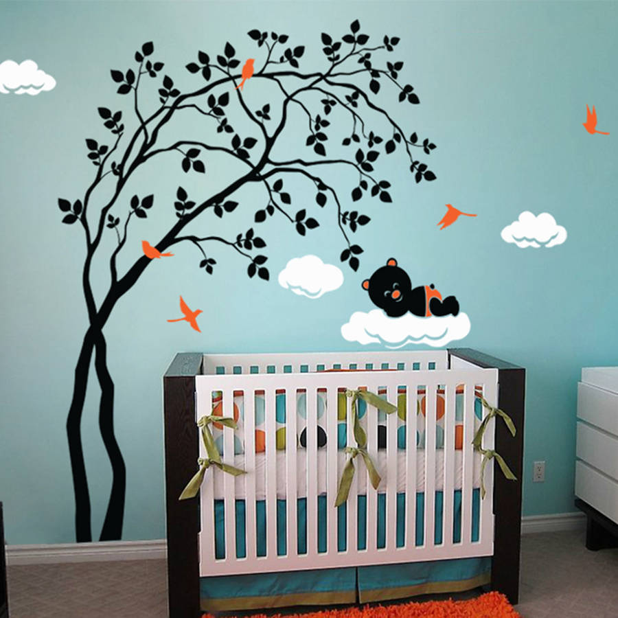 Leaning Right Tree With Baby Bear Wall Sticker Part 52