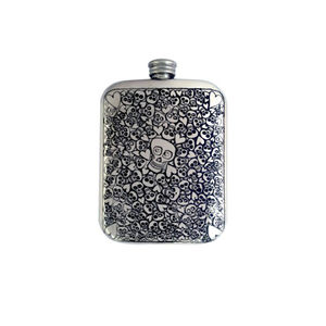 Skull And Hearts Hip Flask With Free Engraving