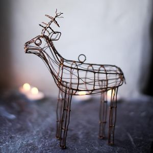Vintage Style Wire Reindeer Xmas Decoration - decorative accessories