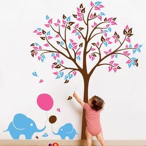 Tree With Baby Elephants And Balloons Wall Sticker - kitchen