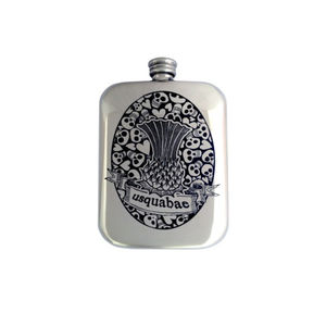 Free Engraved Skull, Hearts And Thistle Hip Flask