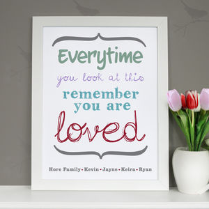 Personalised 'You Are Loved' Art Print - paintings & canvases