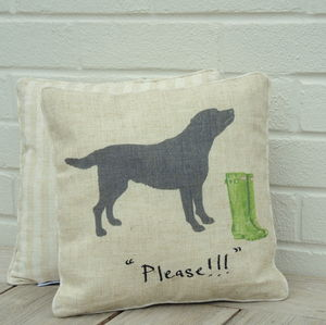 Black Labrador Cushion - patterned cushions