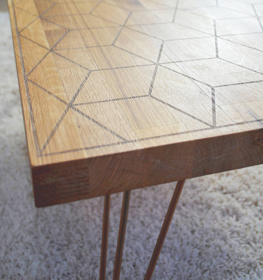 Geometric oak and copper coffee table by oakdene designs for Geometric coffee table
