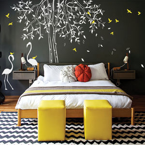 Classic Tree With Flamingoes Wall Sticker - decorative accessories