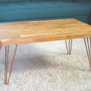 Geometric Oak And Copper Coffee Table
