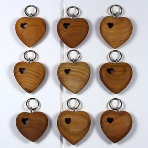 Wooden Heart With Hole Keyring - wedding favours
