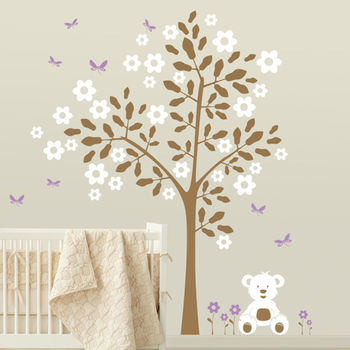 Simple Tree With Teddy Bear Wall Sticker