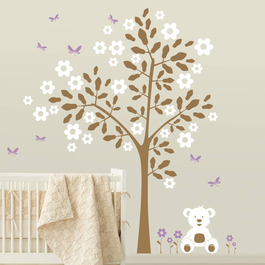 simple tree with teddy bear wall sticker by wall art bear wall sticker spin collective uk