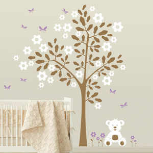 Simple Tree With Teddy Bear Wall Sticker - decorative accessories