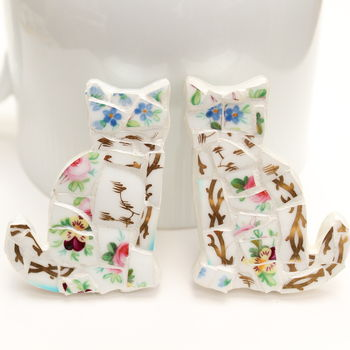 White and Gold Cat Brooches