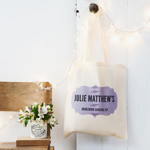 Personalised Bridesmaid Survival Kit Tote Bag