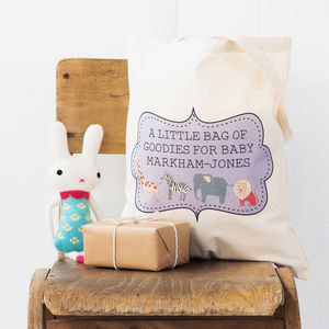 Personalised Baby Shower Bag - ribbon & wrap