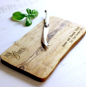 'Mr & Mrs' Waney Edged Chopping Board
