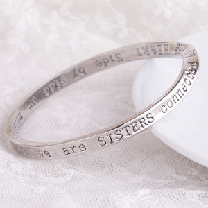 Sisters Connected Message Bangle Silver Plated