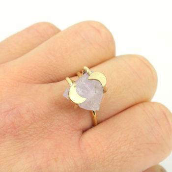 Gold Amethyst Crescent Moon Ring