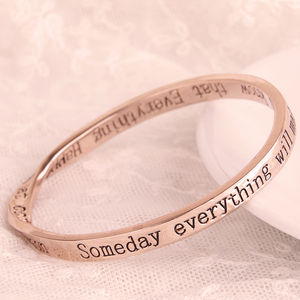 Everything Happens… Rose Gold Message Bangle