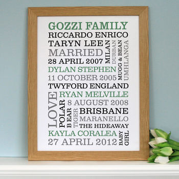 wooden frame - green text