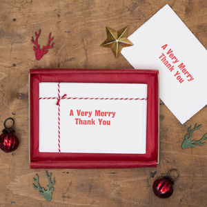 Box Of Six 'Very Merry' Christmas Thank You Cards
