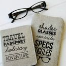 Typography Linen Glasses Case