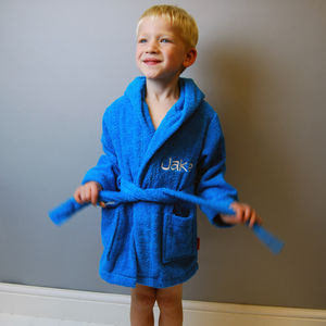 Child's Personalised Embroidered Bathrobe - bed, bath & table linen