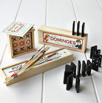 Traditional Wooden Set Of Three Games