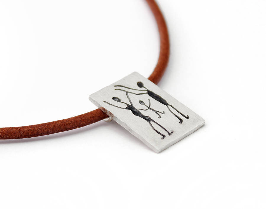 Cave art sterling silver square pendant necklace by alludio cave art sterling silver square pendant necklace mozeypictures Image collections