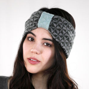 Knitted Lambswool Chequer Headband | Spruce - hats, scarves & gloves
