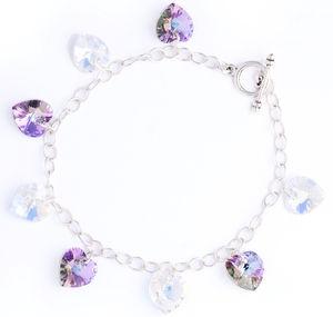 Heart Charm Bracelet Made With Swarovski Crystals