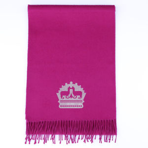 The Alpaca Co. Crest Scarf Raspberry - scarves