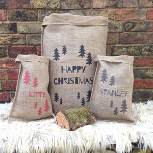 Personalised Christmas Trees Sack - stockings & sacks