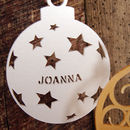 Personalised Bauble with Star Design in Pearlescent Pearl