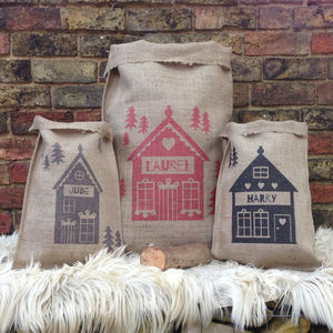 Personalised Christmas Alpine Chalet Sack - stockings & sacks