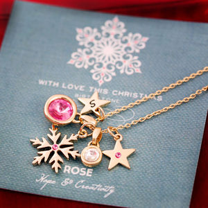 Design Your Own Birthstone Snowflake Necklace - charm jewellery