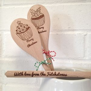 Merry Christmas Personalised Greetings Spoon - home