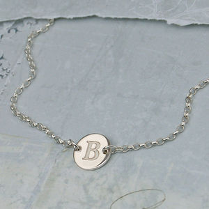 Girls Personalised Initial Silver Disc Necklace