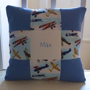 Aeroplane Personalised Name Cushion