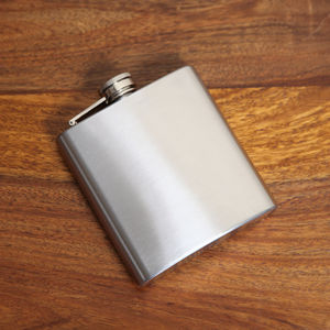 Brushed Steel Mens Hip Flask, Boxed