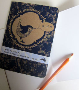 'Singing Wren' Screen Printed Notebook - office & study