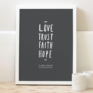 'Love Trust…' Personalised Wedding Print