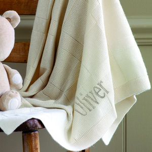 Personalised Bamboo Jacquard Knit Blanket - baby's room